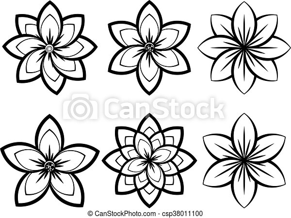 Simple black and white flowers set of different stylistic flowers simple black and white flowers csp38011100 mightylinksfo