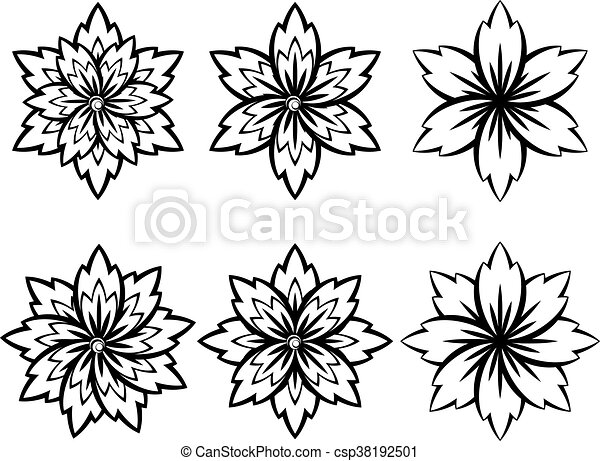 Simple black and white flowers set of different stylistic flowers simple black and white flowers csp38192501 mightylinksfo