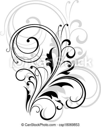 Simple black and white swirling floral element csp18069853