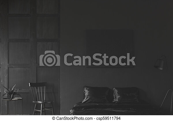 Simple Black Bedroom Interior Fern On Table Next To Chair In Simple Black Bedroom Interior With Lamp Next To Bad Under Dark Canstock