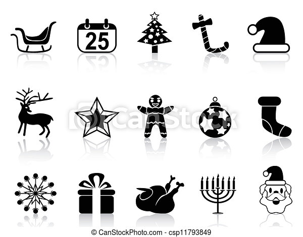 simple black christmas icons set csp11793849 - Simple Christmas Drawings