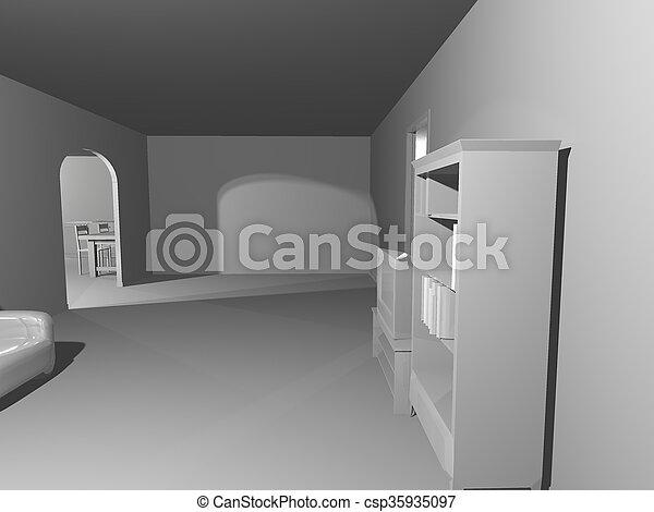 simple, blanche salle, render - csp35935097