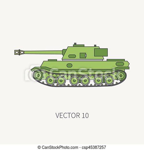 Simple Blindé Couleur Tank Conception Ton Tow Armée Vendange Style Vehicle Plat Infanterie Illustration Assaut Soldiers Ligne
