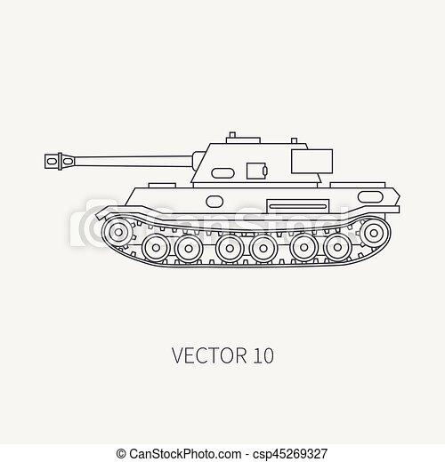 Simple Blindé Tank Conception Ton Tow Armée Vendange Style Vehicle Plat Infanterie Illustration Assaut Soldiers Ligne Dessin