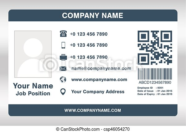 simple blue employee id card template vector. Black Bedroom Furniture Sets. Home Design Ideas