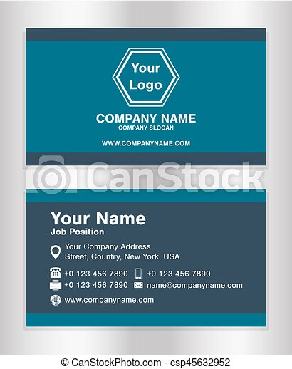 Simple Blue Theme Business Name Card Template Vector Clipart - Business name card template