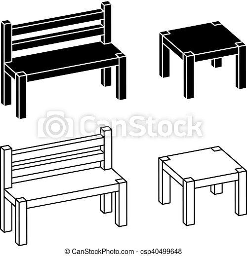 simple, bois, 3d, table, banc - csp40499648