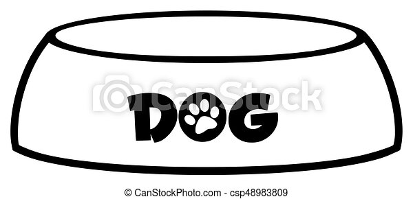 Simple Bol Chien Noir Conception Blanc Dessin Simple Bol