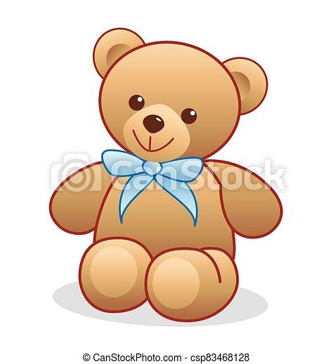 Simple brown teddy bear vector - csp83468128