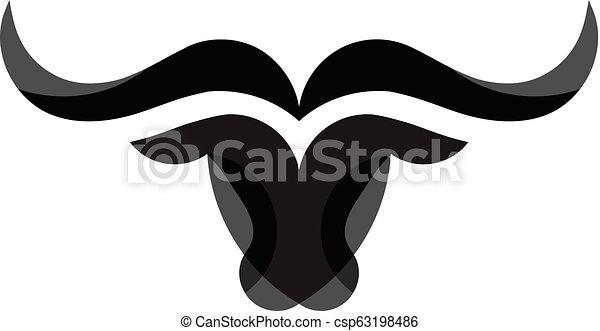 simple Bull head vector logo - csp63198486