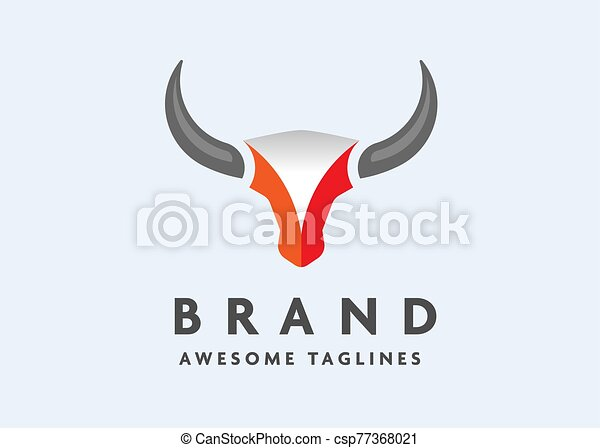 simple Bull head vector logo - csp77368021