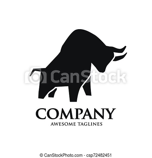 simple bull strong silhouette logo - csp72482451