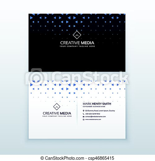 simple business card design with triangle shapes csp46865415 - Simple Business Card Design
