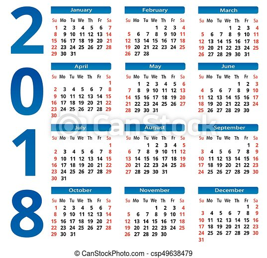simple calendar 2018 the square background vector image
