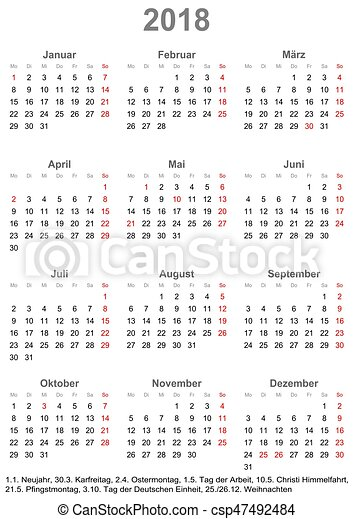 simple calendar 2018 with public holidays for germany vector search clip art illustration. Black Bedroom Furniture Sets. Home Design Ideas