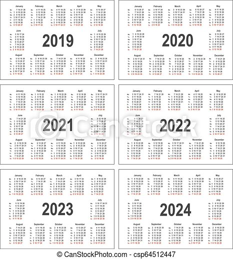 2022 2023 Pocket Calendar.Simple Calendar For 2019 2020 2021 2022 2023 And 2024 Years Pocket Horizontal Calendars Week Starts From Monday Canstock