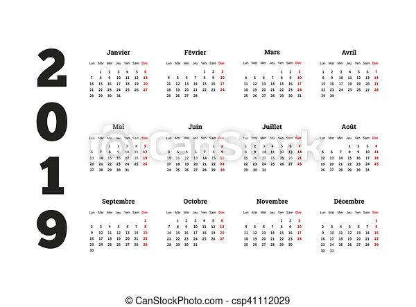 2019 éves naptár Simple calendar on 2019 year in french language. 2019 year simple  2019 éves naptár