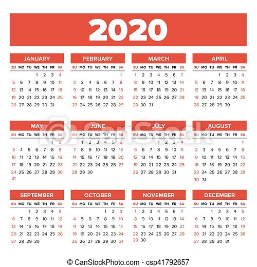 Calendario Del Ano 2020 En Espanol.Simple Calendario 2020 Ano