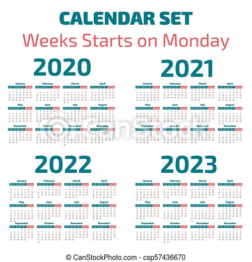 Semaines Calendrier 2020.Simple Calendrier 2020 2023 Annees