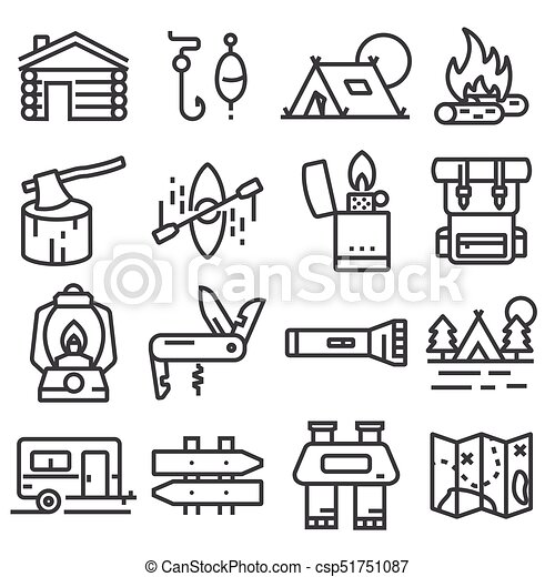 Simple Camping Icons Set Vector Liner Style Illustrations