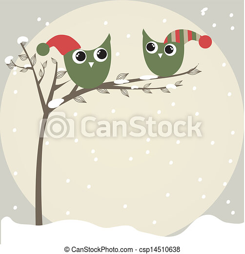 simple card illustration of two funny cartoon owls with christmas hats on a branch - csp14510638