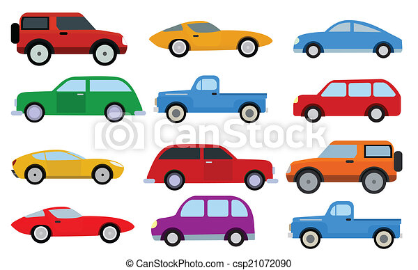 Simple Cars Collection Vector Illustration Of Various Simple Cars