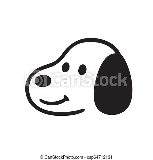 Simple Cartoon Dog Face Drawing Simple And Cute Cartoon Dog Face Black And White Drawing Isolated Vector Illustration