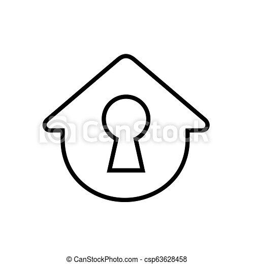 Casa simple con cerradura, ilustración vectorial - csp63628458