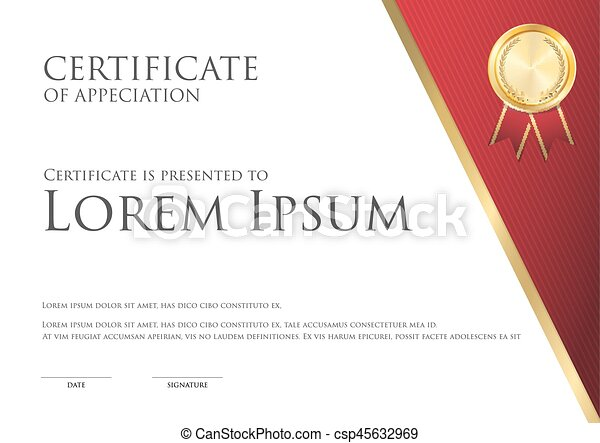 Simple certificate card template white and red theme with clip simple certificate card template white and red theme with gold badge csp45632969 yadclub Images