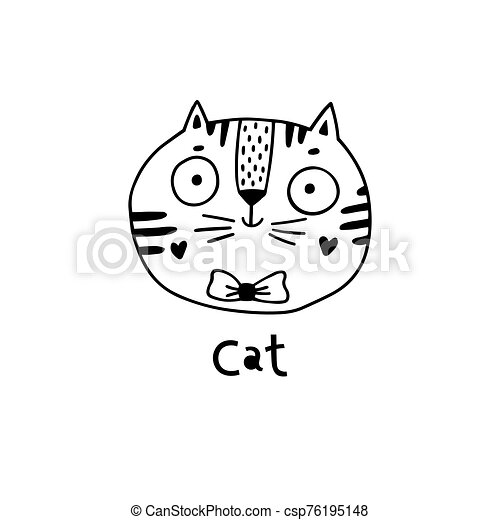 simple, chat, mignon, vecteur, figure, illustration, style., dessin animé - csp76195148