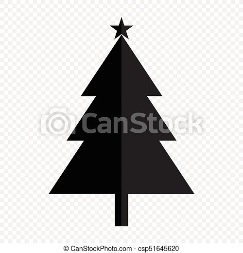 Simple Christmas Tree Black Silhouette Outline