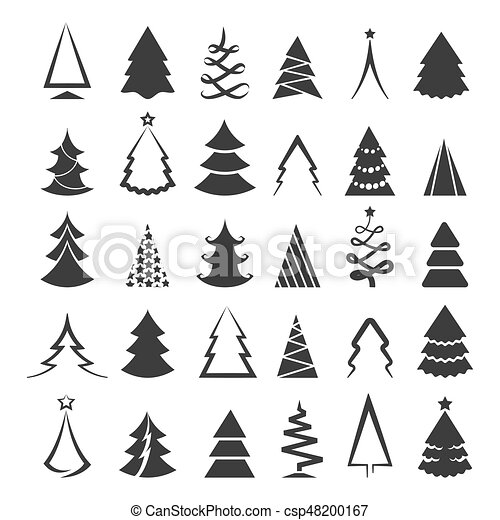 Simple Christmas Tree Icons Isolated On White Background Vector