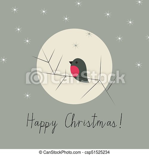 Simple Christmas winter greeting card with bullfinch - csp51525234