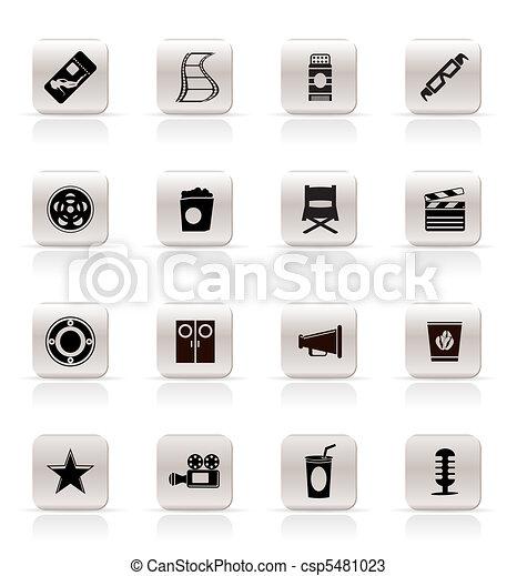 Simple Cinema and Movie Icons  - csp5481023