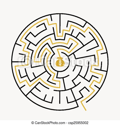 simple circular maze with prize icon
