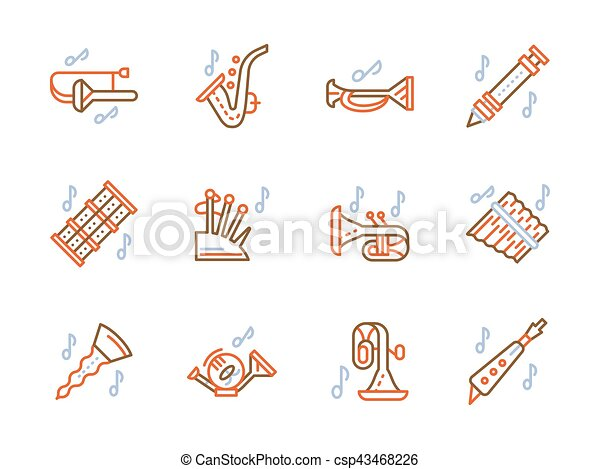 Simple Color Line Vector Icons For Brass Music Musical Brass Wind