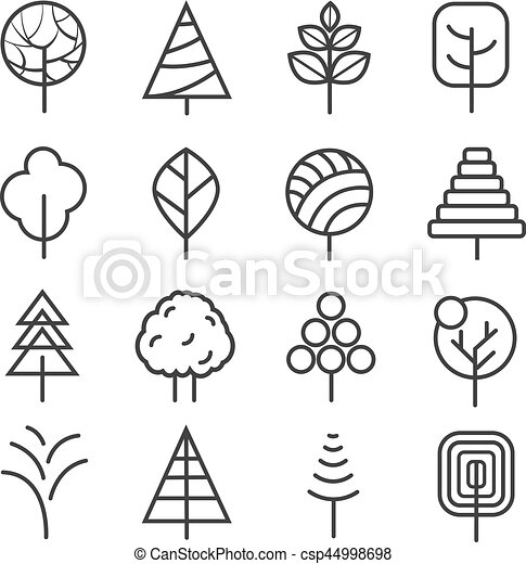 simple contour lines trees vector nature plants and thin line icons