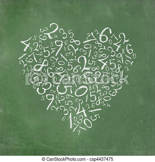 Números sencillos con forma de corazón - csp4437475