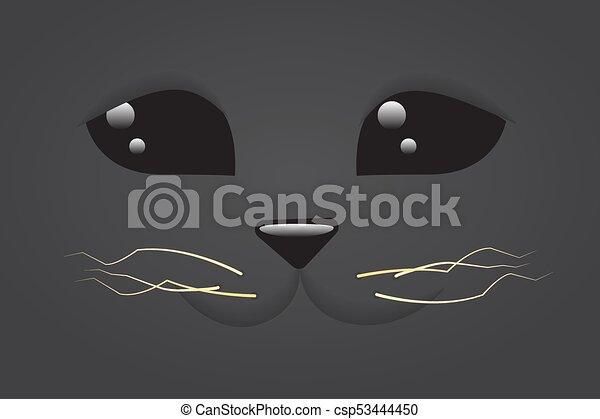 Cute Simple Line Art : Simple cute cartoon flat cat face close up on a black clipart