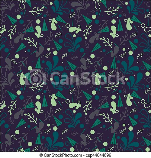 Simple cute seamless pattern in light green leaves. Ornament with leaves. Floral seamless background for dress, manufacturing, wallpapers, prints, gift wrap and scrapbooking. Liberty style. - csp44044896