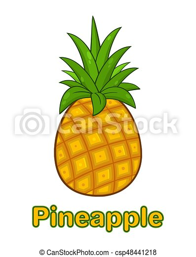 Simple Dessin Animé Fruit Vert Pousse Feuilles Ananas Conception Dessin