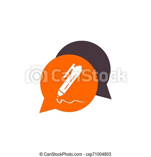 simple dialogue pen button icon and logo vector - csp71004803