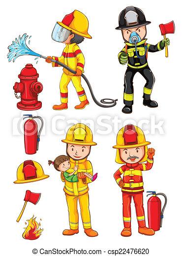 Simples Bocetos De Los Bomberos La Ilustración De Los