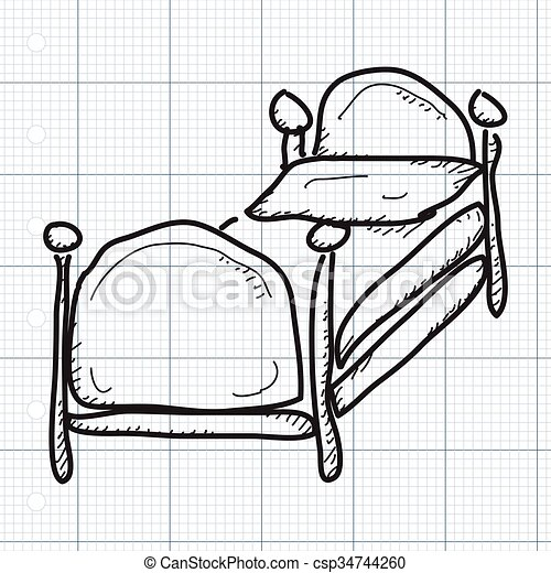 Simple doodle of a bed - csp34744260