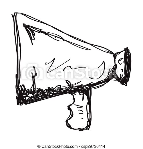 simple doodle of a megaphone simple hand drawn doodle of a rh canstockphoto com