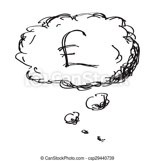Simple doodle of a money thought - csp29440739