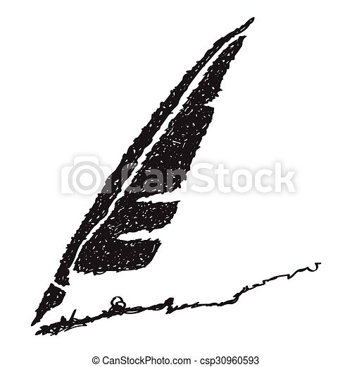 Simple doodle of a quill - csp30960593