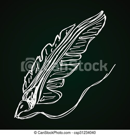 Simple doodle of a quill - csp31234040