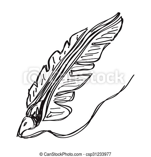 Simple doodle of a quill - csp31233977