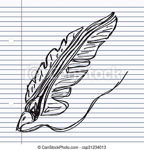 Simple doodle of a quill - csp31234013